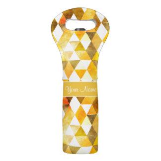 Gold Watercolor Geometric Triangles Wine Bag