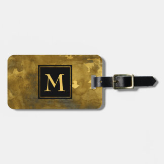 Gold Watercolor Luggage Tag with Monogram on front