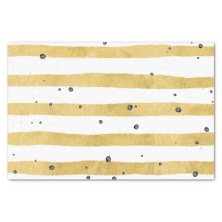 Gold Watercolor Stripes With Black Speckles Tissue Paper