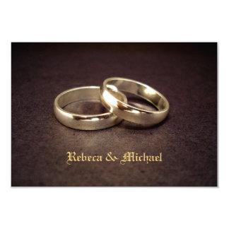 Gold Wedding Band RSVP Card 9 Cm X 13 Cm Invitation Card
