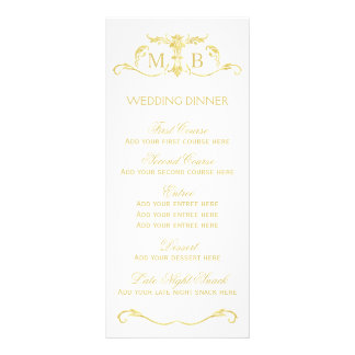 Gold wedding dinner menu template set rack card