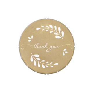 Gold Wedding Favor - Wreathed Thank You Jelly Belly Tin