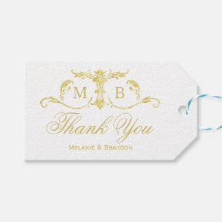 Gold wedding favour gift tags Wedding Thank You