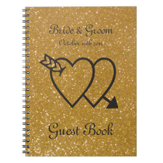 Gold wedding guest book | double heart and arrow