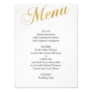 Gold wedding menu poster. Elegant dinner menu Photo Print