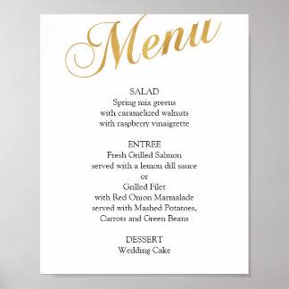 Gold wedding menu poster. Elegant dinner menu Poster
