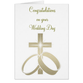 Gold wedding rings and cross art greeting card