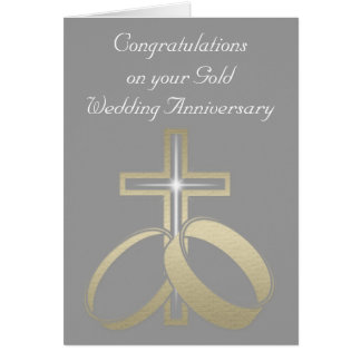 Gold Wedding Rings and Cross Card