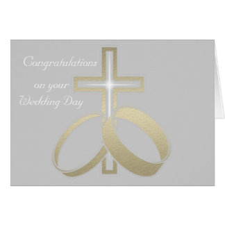 Gold Wedding Rings and Cross Greeting Cards