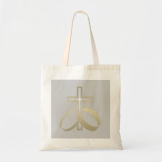 Gold Wedding Rings and Cross Gifts Budget Tote Bag