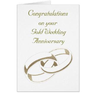 Gold Wedding Rings Art Gifts Greeting Card