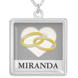 Gold Wedding Rings Heart Romantic Bridal Pendants