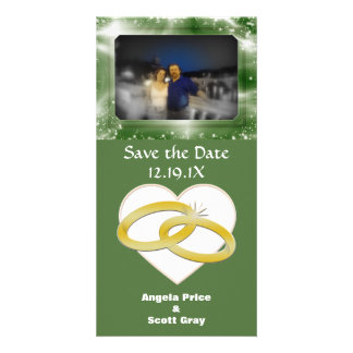 Gold Wedding Rings Heart Romantic Marriage Customised Photo Card