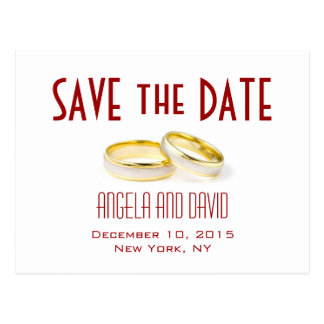 Gold Wedding Rings Red Save the Date Postcards