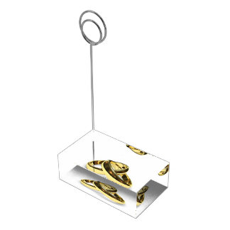 Gold Wedding Rings Table Card Holder