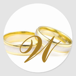 Gold Wedding Rings with Monogram Favour Sticker