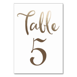 Gold Wedding Table Number Typography Cards