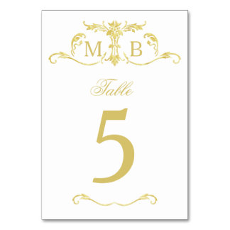 Gold wedding table numbers table number cards