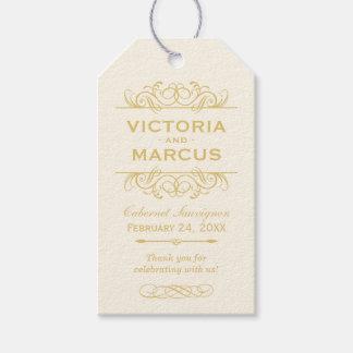 Gold Wedding Wine Bottle Monogram Favour Tags