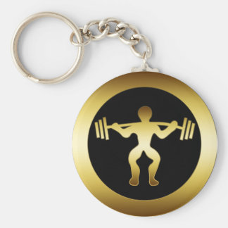 GOLD WEIGHTLIFTER BASIC ROUND BUTTON KEY RING