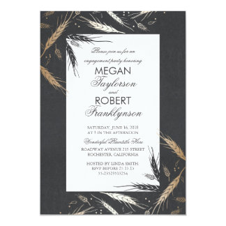 Gold Wheat Rustic Modern Fall Engagement Party Card