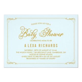 Gold Whimsical Borders Light Blue Baby Shower 13 Cm X 18 Cm Invitation Card