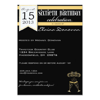 Gold, White and Black Champagne 60th Birthday Card