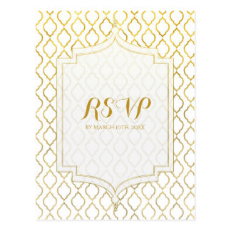Gold & White Arabian Moroccan Glam Wedding RSVP Postcard