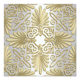 Gold White Art Deco Damask Baby Shower 13 Cm X 13 Cm Square Invitation Card