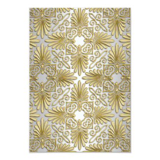 Gold White Art Deco Damask RSVP 2 Card