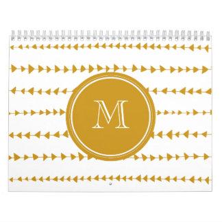 Gold White Aztec Arrows Monogram Calendars