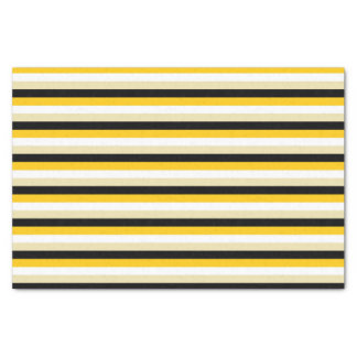 Gold, White, Beige and Black Stripes Tissue Paper