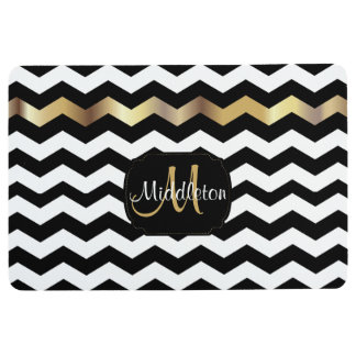 Gold, White & Black Chevron Design Floor Mat