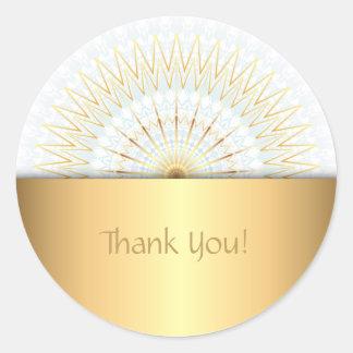 Gold White Blue Mandala Classic Round Sticker