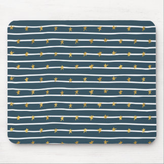 Gold White Blue Stars and Stripes Mouse Pad