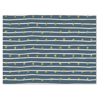 Gold White Blue Stars and Stripes Tissue Paper