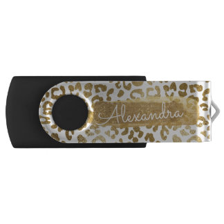 Gold & White Cheetah Print with Gold Glitter USB Flash Drive