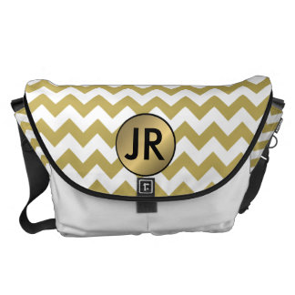 Gold/White Chevron Bride Overnight Stay Bag Custom Courier Bag