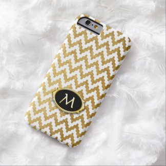 Gold White Chevron Monogram Barely There iPhone 6 Case