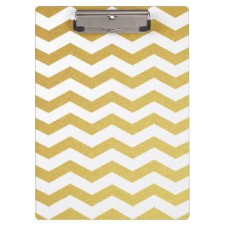 Gold & White Chevron Monogram Clipboard