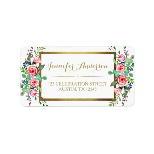 Gold White Chic Beautiful Floral Roses Label