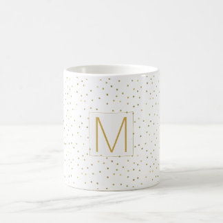 Gold White Confetti Monogram Coffee Mug