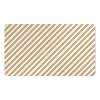 Gold & White Diagonal Christmas Candy Cane Stripes Business Card Template