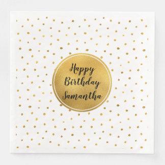 Gold White Dots Birthday Paper Serviettes