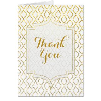Gold & White Elegant Moroccan Wedding Thank You Card