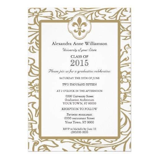 Gold White Fleur de Lis Floral Formal Graduation Invite
