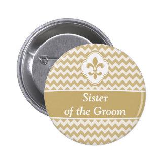 Gold White Fleur de Lis Wedding Party Buttons