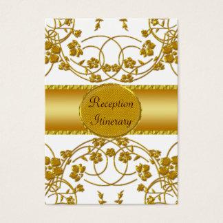 Gold & White Floral Wedding Monogram Business Card