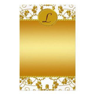 Gold & White Floral Wedding Monogram Stationery Paper
