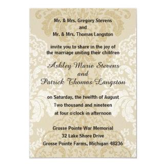 Gold White Formal Damask Wedding 5x7 Invitation